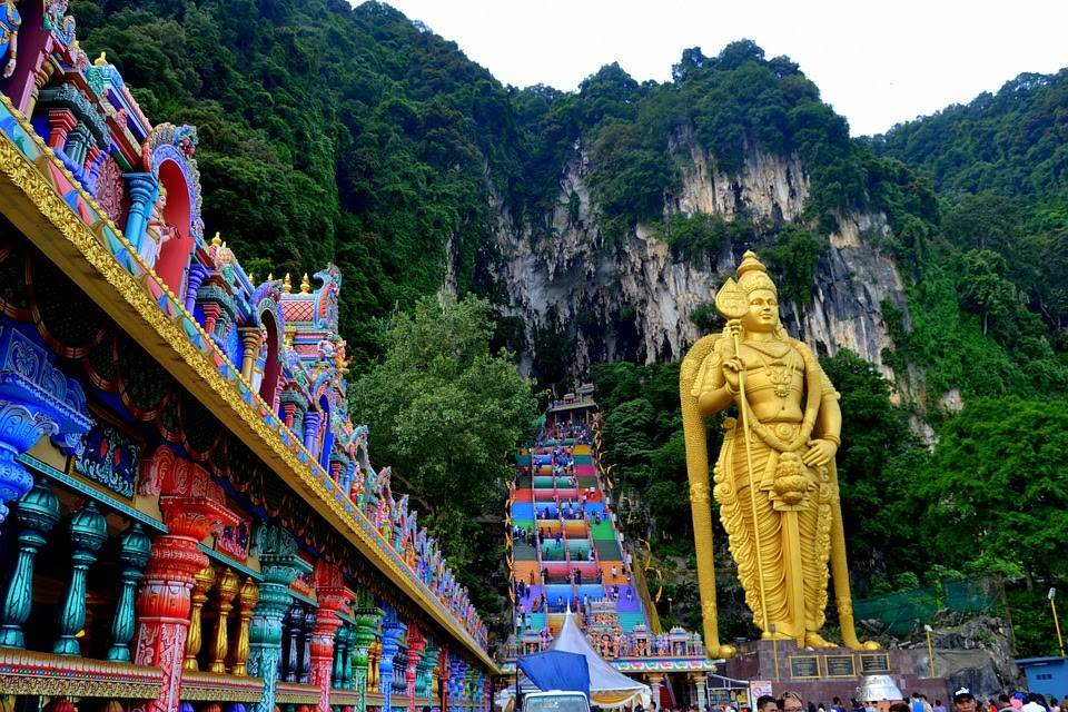 Front view for the tourists of Batu caves, with lord Murugan, son of Hindu God Shiva, 42.3 meter tall statue.